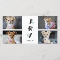 Botanical Joy Paw Print | Pet Holiday 4 Photo Card