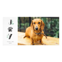 Botanical Joy Paw Print | Pet Holiday Photo Card