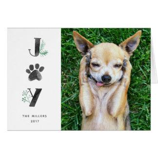 Botanical Joy Paw Print   Pet Holiday Photo Folded Card