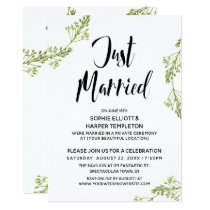 Botanical Just Married Typography Post Wedding Invitation