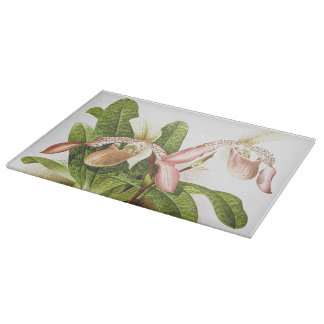 Botanical Ladys Slipper Orchid Flowers Floral Cutting Board