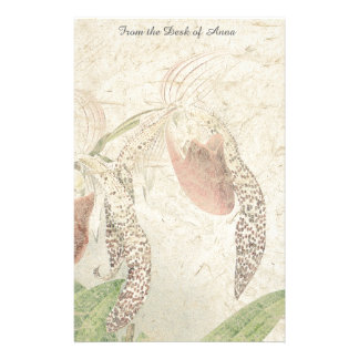Botanical Ladys Slipper Orchid Flowers Floral Stationery