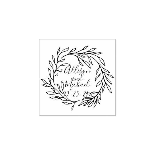 Botanical Laurel Leaves Wreath Wedding Rubber Stamp
