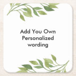 """botanical leaf style personalised coaster<br><div class=""""desc"""">add your own wording use ideal for wedding parties etc</div>"""