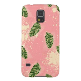 Botanical Leaves On Pink Background Case For Galaxy S5