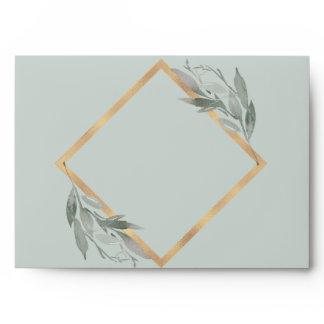 Botanical Leaves Sage Slate Grey Gold Foil Wedding Envelope