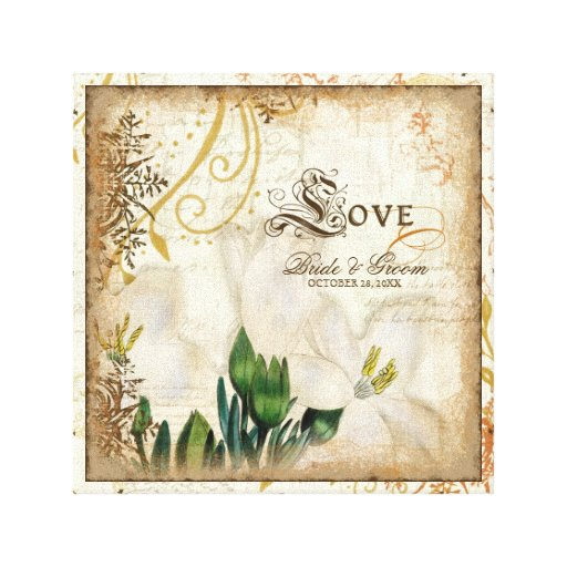 Botanical Lily Lilies Love Wedding Personalized Stretched Canvas Prints