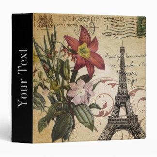 Botanical Lily vintage scripts Paris Eiffel Tower 3 Ring Binder