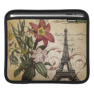 Botanical Lily vintage scripts Paris Eiffel Tower iPad Sleeve