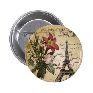 Botanical Lily vintage scripts Paris Eiffel Tower Pinback Button