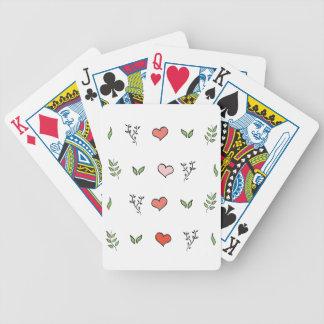 Botanical Love: Green botanical red heart pattern Bicycle Playing Cards