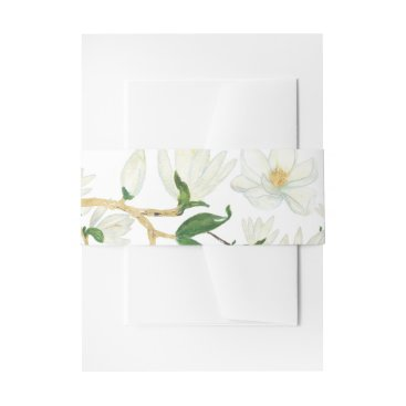 Beach Themed Botanical Magnolia Flowers Invitation Belly Band