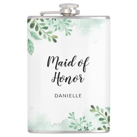 Botanical Maid of  Honor Wedding Party Gift  Flask