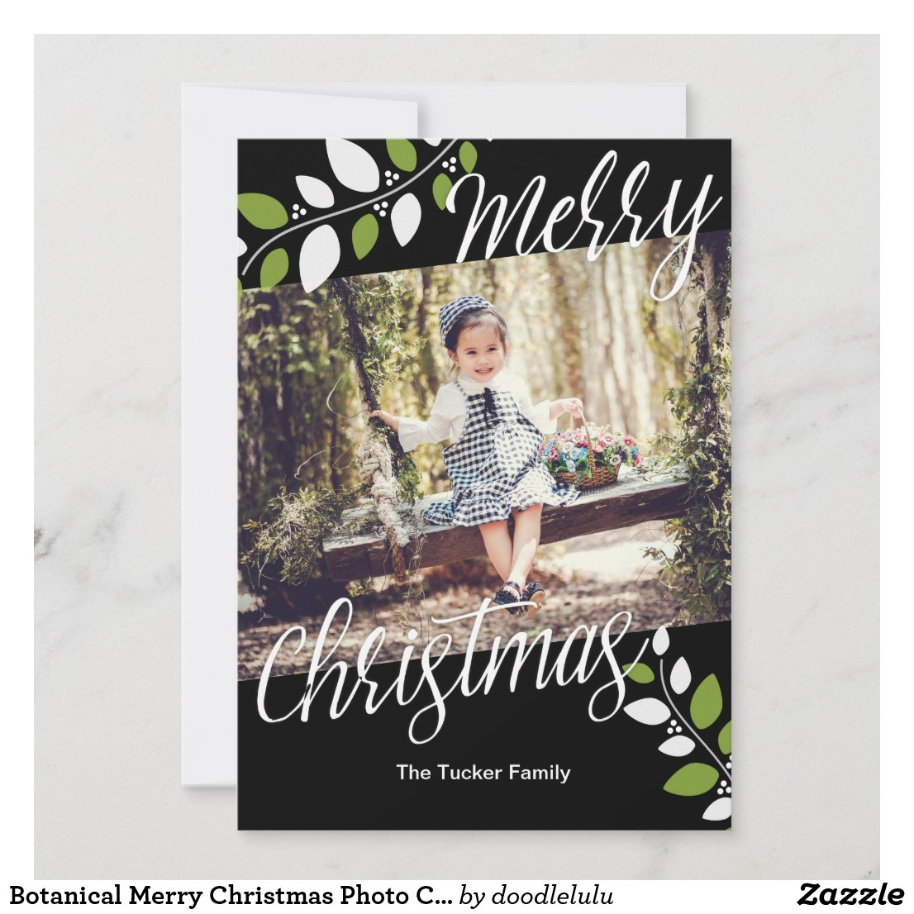 Botanical Merry Christmas Photo Card Black Green