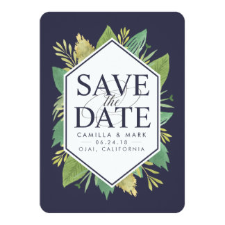 Botanical Modern Save the Date Card w/ Photo Back