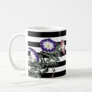 Botanical Morning Glory Flower Floral Stripes Mug