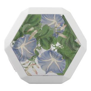 Botanical Morning Glory Flowers Floral Boombot White Bluetooth Speaker