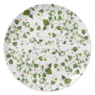 Botanical Morning Glory Flowers Floral Leaves Melamine Plate