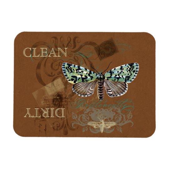 Botanical Moth Vintage Clean Dirty Dishwasher Magnet