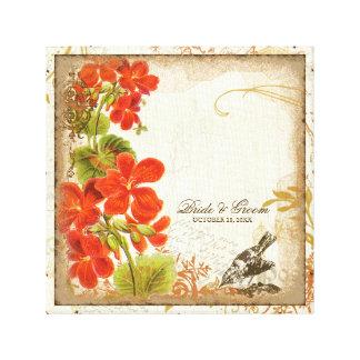 Botanical Nasturtium Wedding Gift Personalized Canvas Print