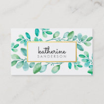 BOTANICAL NATURE modern watercolor painted leaves Business Card