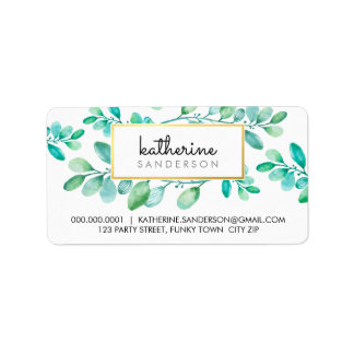 BOTANICAL NATURE modern watercolor painted leaves Label