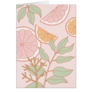 Botanical Note Card with Citrus and Leaves