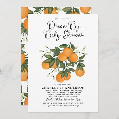Botanical Orange Citrus Drive Thru Baby Shower Invitation