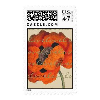 Botanical Oriental Poppy Flower Love Postage