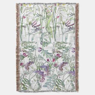 Botanical Pea Family Vetch Flowers Throw Blanket