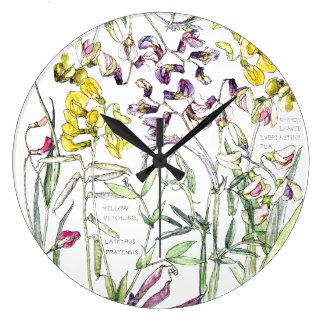 Botanical Pea Flowers Leaves Floral Wall Clock