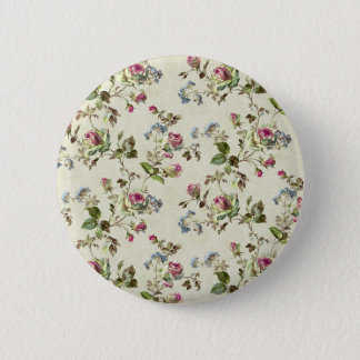 botanical pink and blue flowers pattern all over button