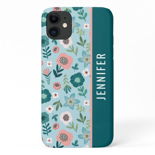 Botanical Pink And Blue Spring Floral Name iPhone 11 Case