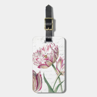 Botanical Pink and White Tulip Illustration Tag For Luggage
