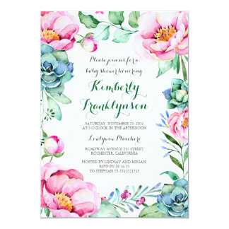 Botanical Pink Floral Watercolor Baby Shower Card