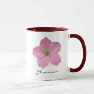 Botanical Pink Geranium Flower Photo with Name Mug