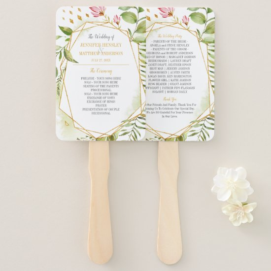 Botanical Pink Green Gold Geometric Frame Wedding Hand Fan
