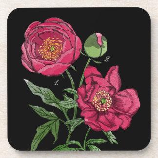 Botanical   Pink Peony flower Coasters