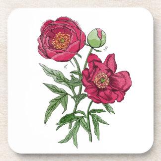 Botanical   Pink Peony flower Coaster