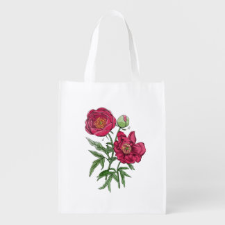 Botanical | Pink Peony flower Grocery Bags