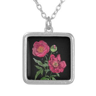 Botanical   Pink Peony flower Personalized Necklace