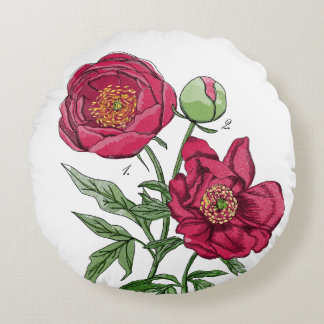 Botanical | Pink Peony flower Round Pillow