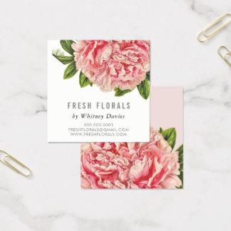 BOTANICAL PINK PEONY flower stylish vintage floral Square Business Card