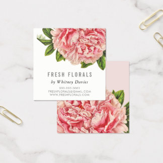 botanical pink peony flower stylish vintage floral square business card