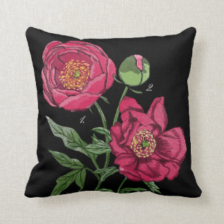 Botanical | Pink Peony flower Throw Pillow