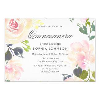 Botanical Pink Rose Quinceanera Invitation