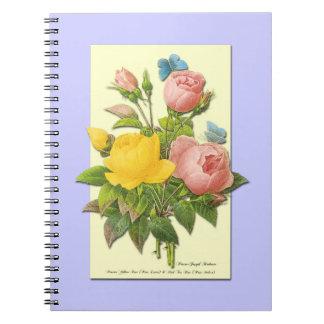 Botanical Pink Yellow Roses Notebook