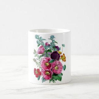 Botanical Print - Hollyhocks & Roses Coffee Mug