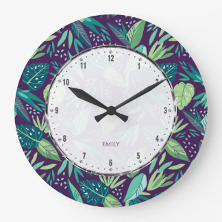 Botanical Purple & Green Leafs Seamless Pattern Large Clock