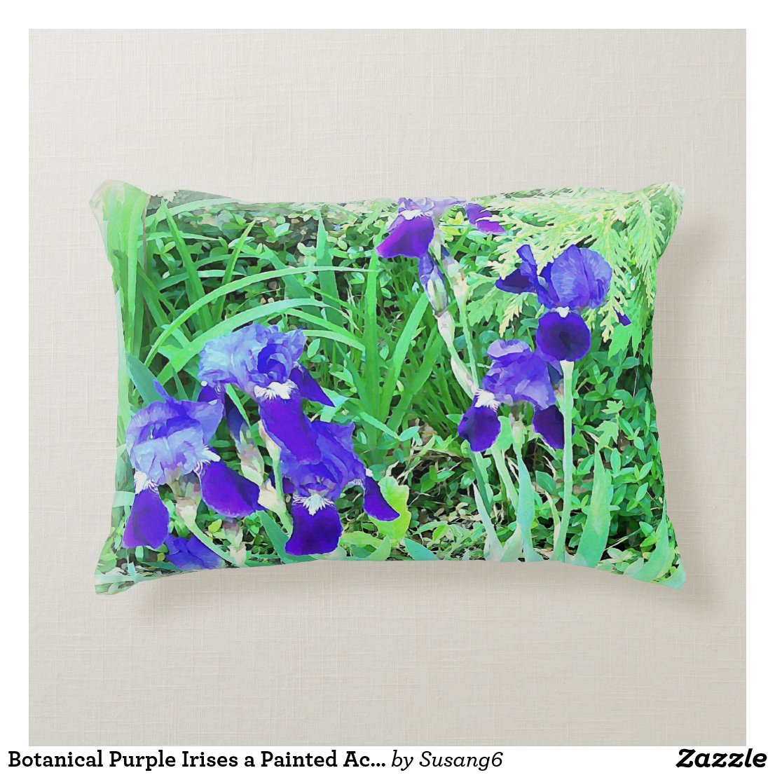 Botanical Purple Irises a Painted Accent Pillow